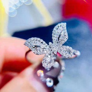 NEW 18K White Gold Diamond Butterfly Ring